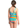 Zoggs Folk Tale Yaroomba Floral Swimsuit Girls Stripes
